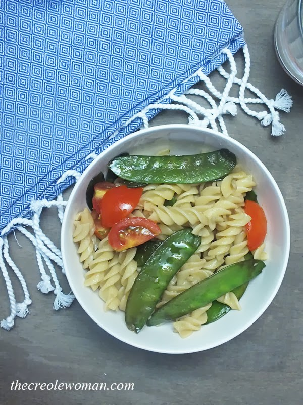 Rotelle Pasta, Sugar Snap Peas and Tomatoes | thecreolewoman.com